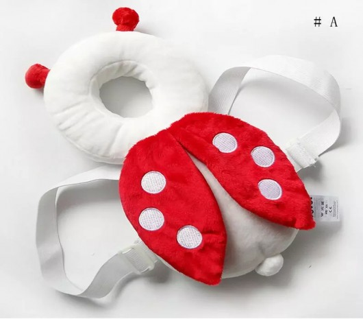Baby head and back protector pillow - red and white - MOM3gvl