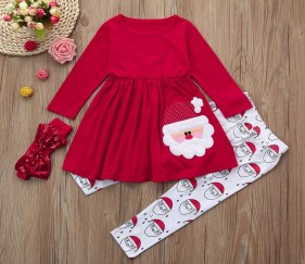 Santa Girls Outfit with matching bow - MOMukw0