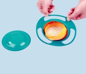Gyro Umbrella Bowls 360 Rotate Spill-Proof Bowl - Blue orange - MOM9a61