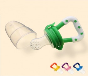NIPPLE FRUIT BITE SILICONE TEETHERS BPA FREE - GREEN - MOMs70r