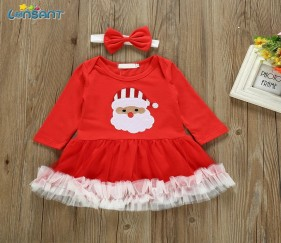 Baby Girl Santa Dress with matching bow - MOMh0n6