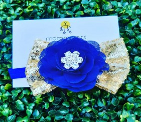Party wear Blue and  Golden Bow - MOMpgb6