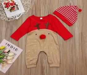Baby Christmas Romper with cap - MOMowxs