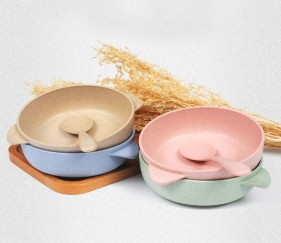 Wheat straw bowl with spoon (green) - MOMefvx