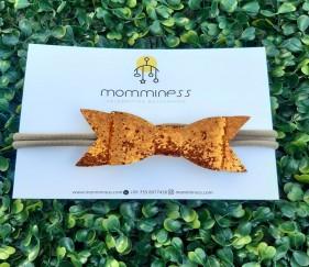 Glitter Bow Nylon (orange) - MOM77du