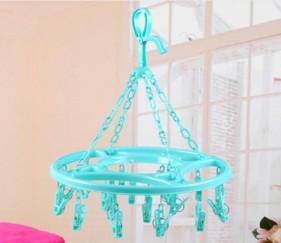 18Pcs clips plastic multifunctional Round Spring clothes hanger Green - MOMttoh