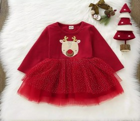 Baby Girl Christmas Frock with deer print and tutu lace - MOMe8t2