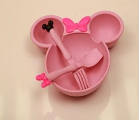 3 Pcs Children Baby Bamboo Tableware - Pink - MOM9sza