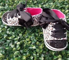 Leopard Sequin Black Shoes - MOMlpqj