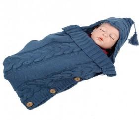Warm sleeping bag or stroller wrap - Button knit - MOMau1g